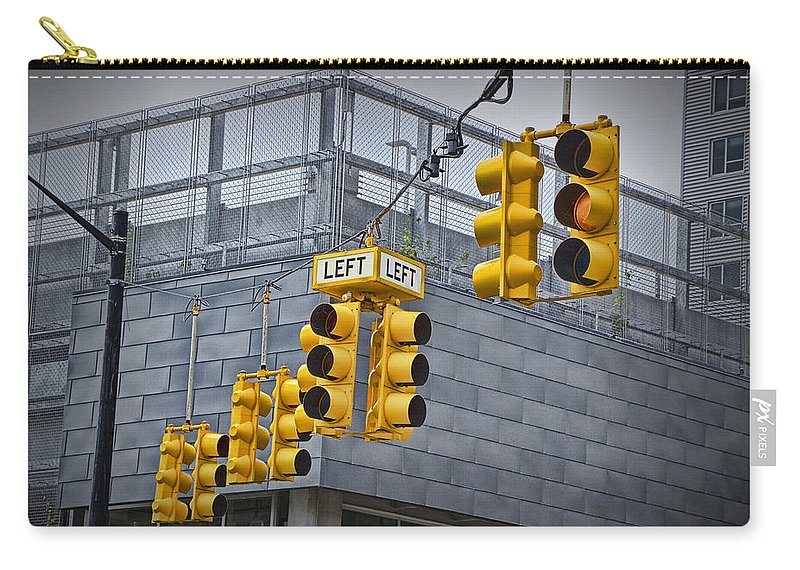 Traffic Carry-all Pouch featuring the photograph Traffic Lights And Left Turn Signal by Randall Nyhof
