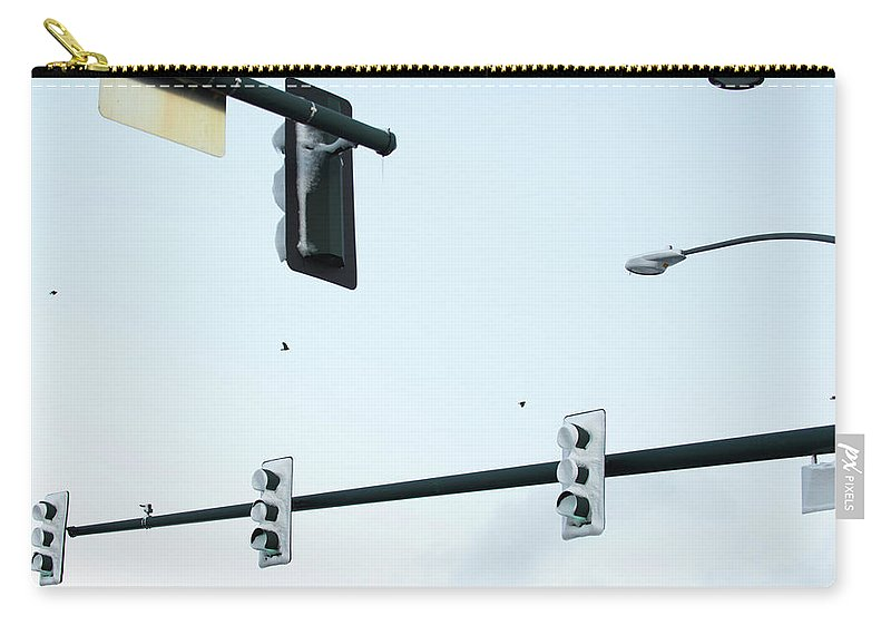 Frost Carry-all Pouch featuring the photograph Traffic Signals And Streetlights by Jon Paciaroni