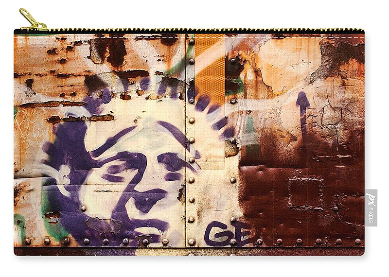 Graffiti Carry-all Pouch featuring the photograph Train Art Statue Of Liberty by Carol Leigh