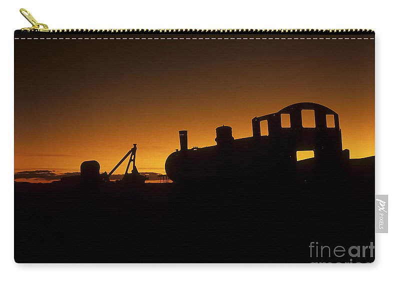 Train Carry-all Pouch featuring the photograph Uyuni Train Cemetery Sunset Bolivia by James Brunker