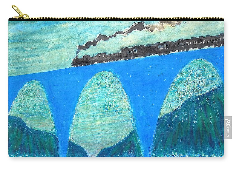 Steam Locomotive Carry-all Pouch featuring the painting Train For A New World By Taikan by Taikan Nishimoto