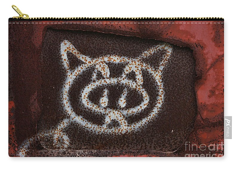 Kitty Carry-all Pouch featuring the photograph Train Kitty by Deborah Benoit