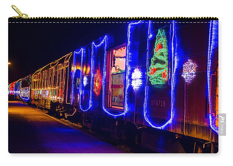 Christmas Train Carry-all Pouch featuring the photograph Train Of Lights by Garry Gay