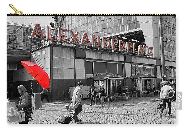 Bahnhof Train Station Alexanderplatz Berlin Capital Germany Gdr Ddr Bw Sw Carry-all Pouch featuring the photograph Train Station Alexanderplatz by Steve K