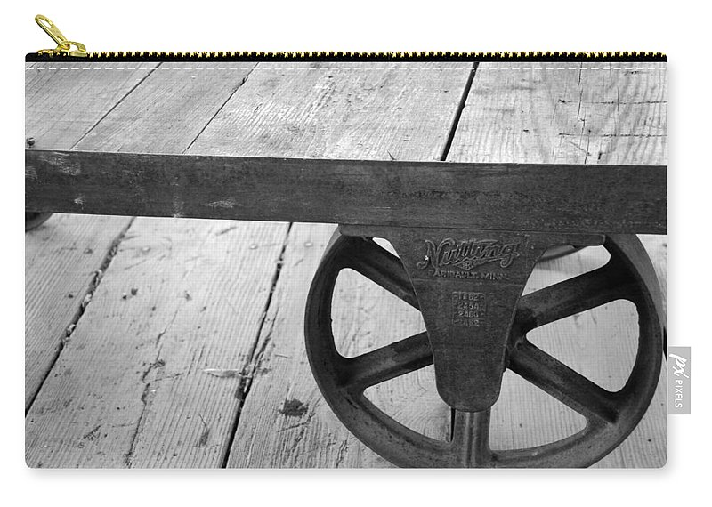 Wheel Carry-all Pouch featuring the photograph Train Station Cart by Beverly Stapleton