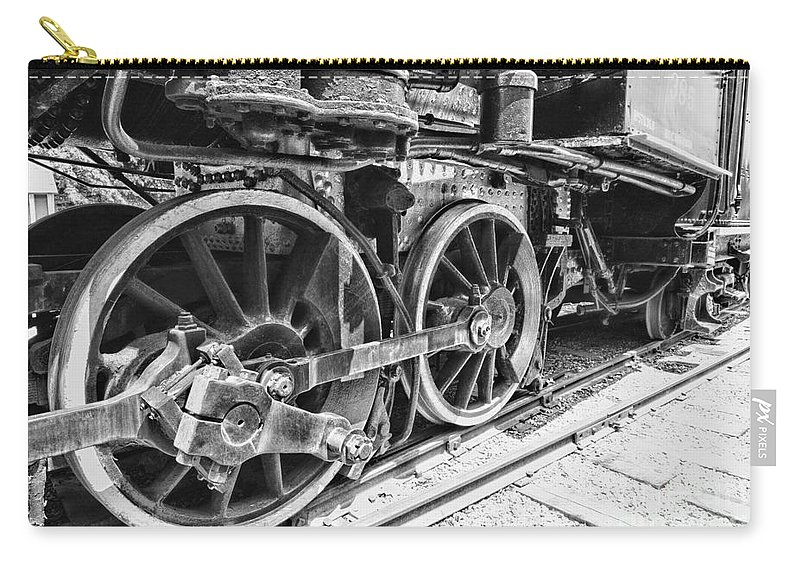 Paul Ward Carry-all Pouch featuring the photograph Train - Steam Engine Wheels - Black And White by Paul Ward