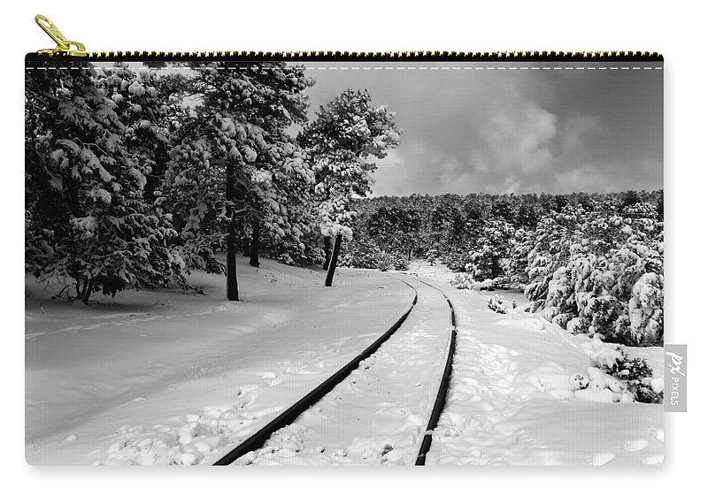 Train Tracks Carry-all Pouch featuring the photograph Train Tracks In The Snow by Laurel Powell