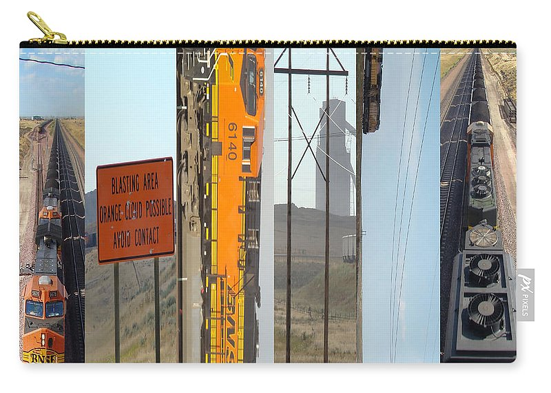 Trains Carry-all Pouch featuring the digital art Trains And Coal Mining by Cathy Anderson