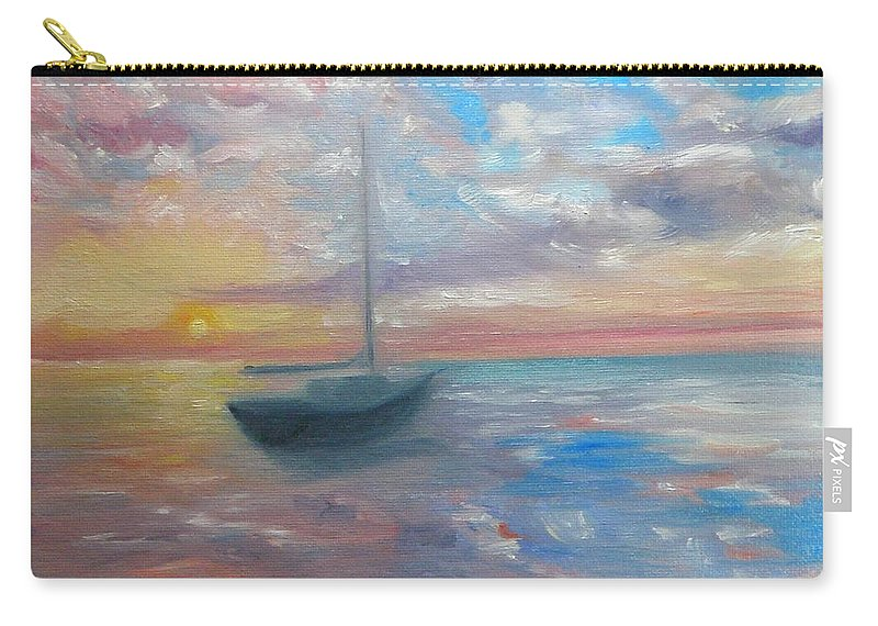 Oil Painting Carry-all Pouch featuring the painting Tranquil Ocean Sunset by Liz Snyder
