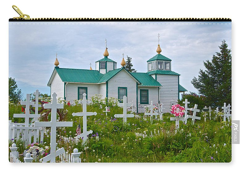 Transfiguration Of Our Lord Russian Orthodox Church. Ak Carry-all Pouch featuring the photograph Transfiguration Of Our Lord Russian Orthodox Church In Ninilchik-ak by Ruth Hager