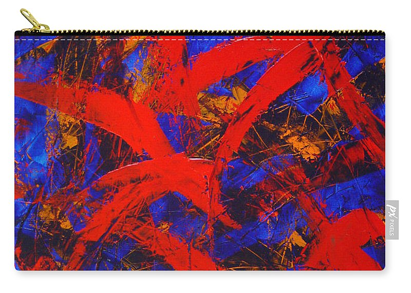 Abstract Carry-all Pouch featuring the painting Transitions With Blue And Red by Dean Triolo