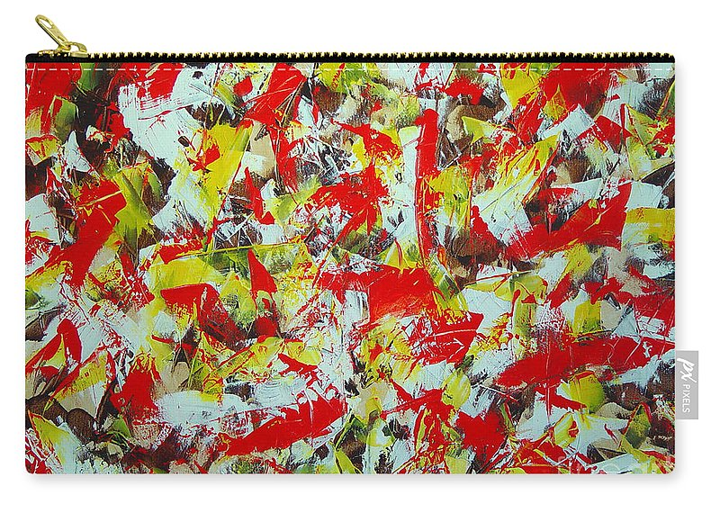Abstract Carry-all Pouch featuring the painting Transitions With Yellow Brown And Red by Dean Triolo