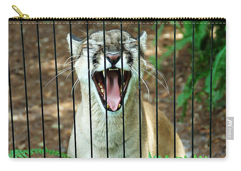 Panther Carry-all Pouch featuring the photograph Trapped In A Cage by Aimee L Maher ALM GALLERY
