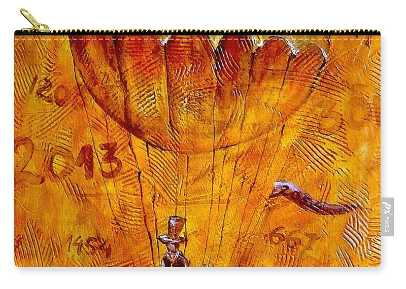 Abstraction Carry-all Pouch featuring the painting Travel In Time 651 - Marucii by Marek Lutek