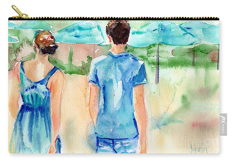Beach Art Carry-all Pouch featuring the painting Travel The World by Maria Reichert