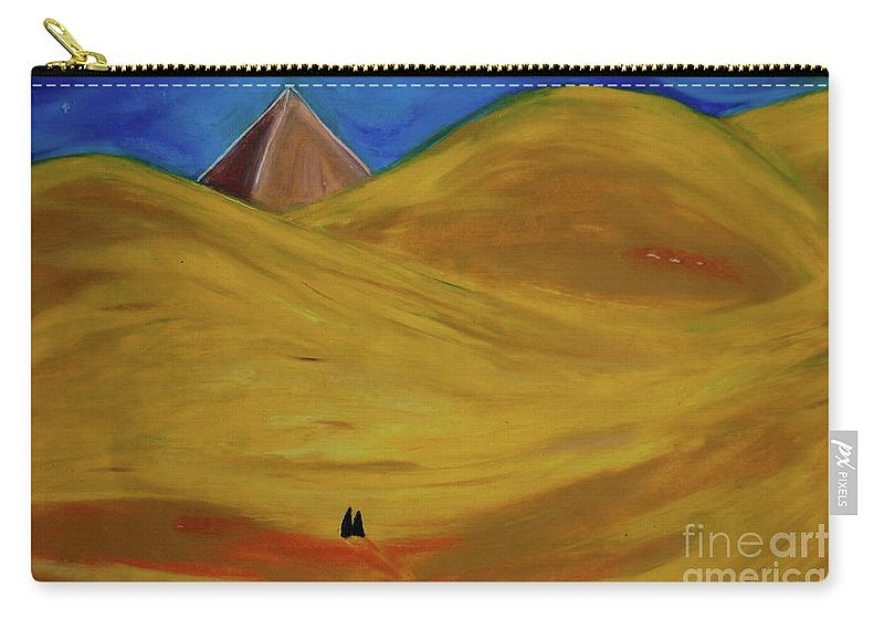 Pyramid Carry-all Pouch featuring the drawing Travelers Desert by First Star Art