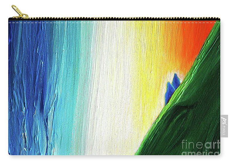 Travelers Carry-all Pouch featuring the painting Travelers Rainbow Waterfall Detail by First Star Art