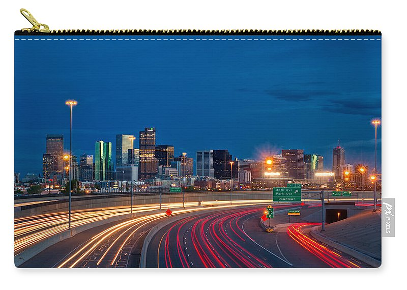 Denver Carry-all Pouch featuring the photograph Traveling Into Denver by Ronda Kimbrow