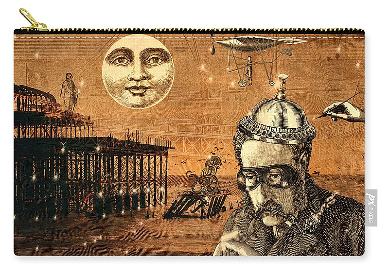 Treasure Carry-all Pouch featuring the mixed media Treasure Steampunk by Bellesouth Studio