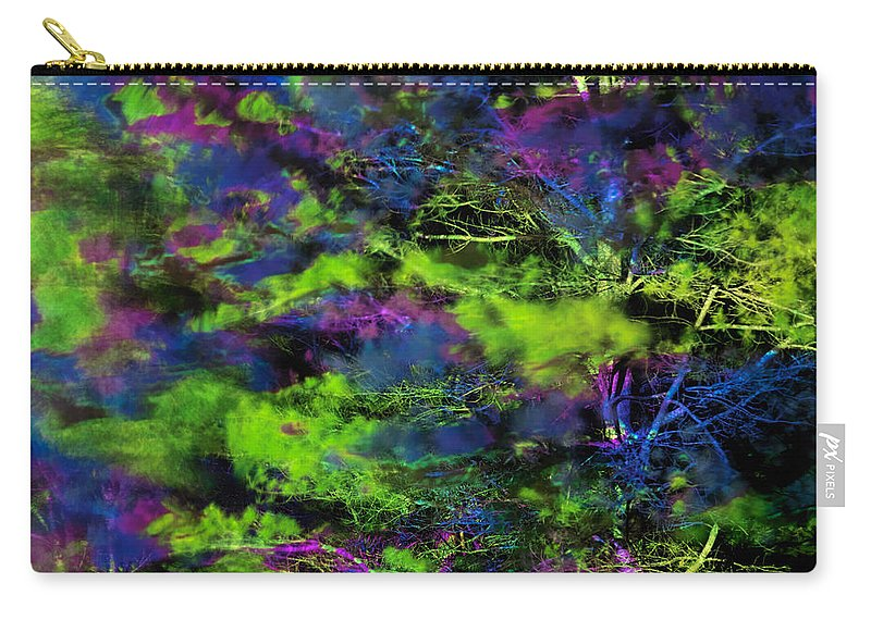 Abstract Carry-all Pouch featuring the photograph Tree Branches Lit With Abstract Colorful Projection by Oleksiy Maksymenko
