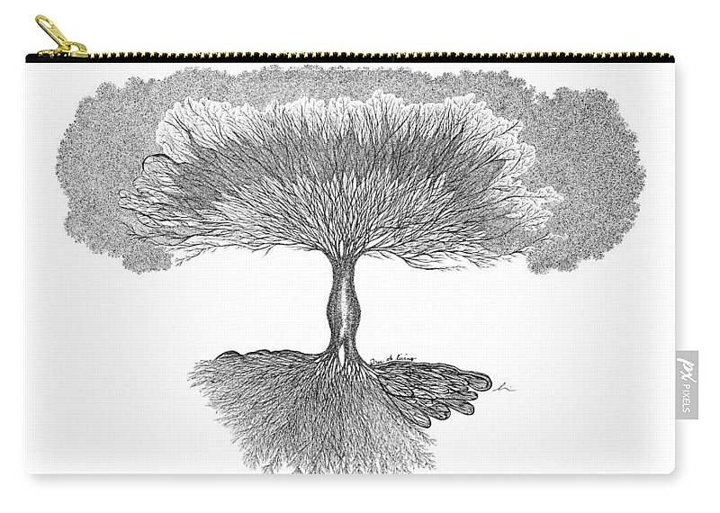 Tree Carry-all Pouch featuring the drawing Tree Of Living by Andrea Currie