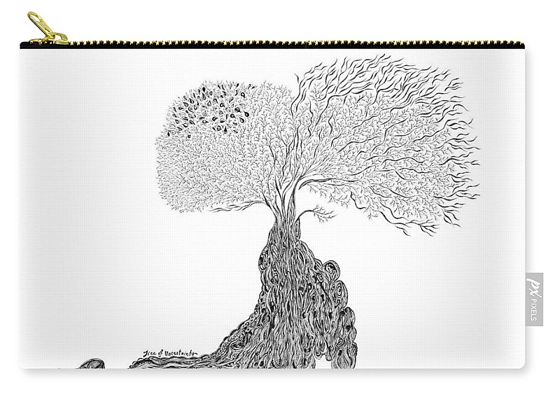 Tree Carry-all Pouch featuring the drawing Tree Of Uncertainty by Andrea Currie