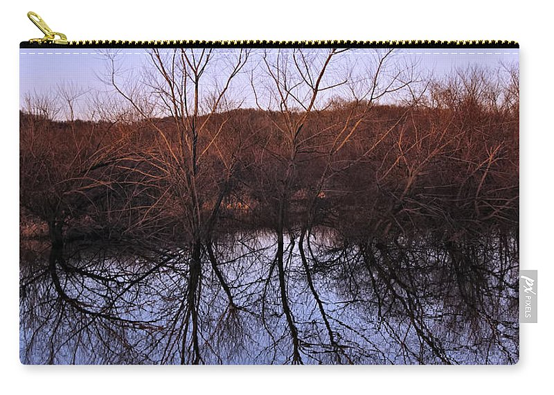 Landscape Carry-all Pouch featuring the digital art tree reflection on Wv pond by Chris Flees
