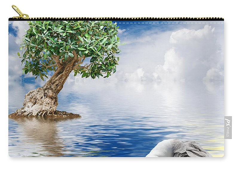 Abstract Carry-all Pouch featuring the photograph Tree Seagull And Sea by Antonio Scarpi