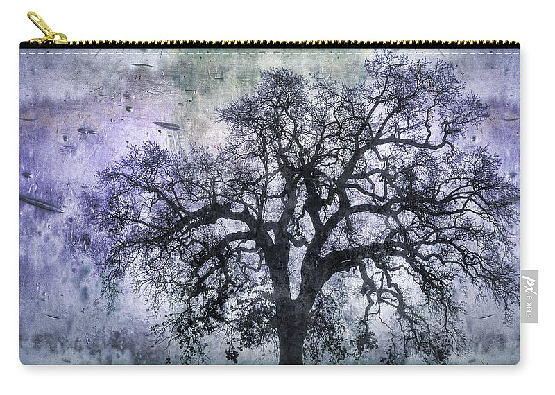 Tree Carry-all Pouch featuring the photograph Tree Silhouette In Purple by Carol Leigh