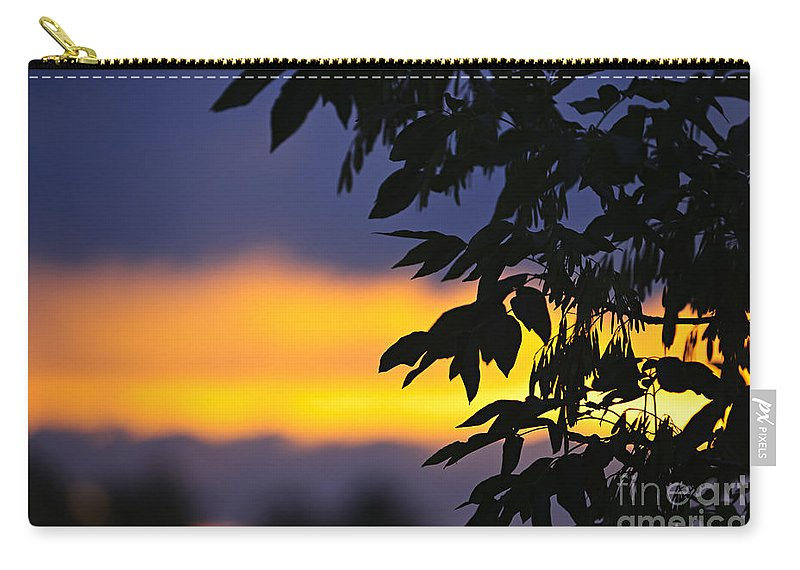 Tree Carry-all Pouch featuring the photograph Tree Silhouette Over Sunset by Elena Elisseeva
