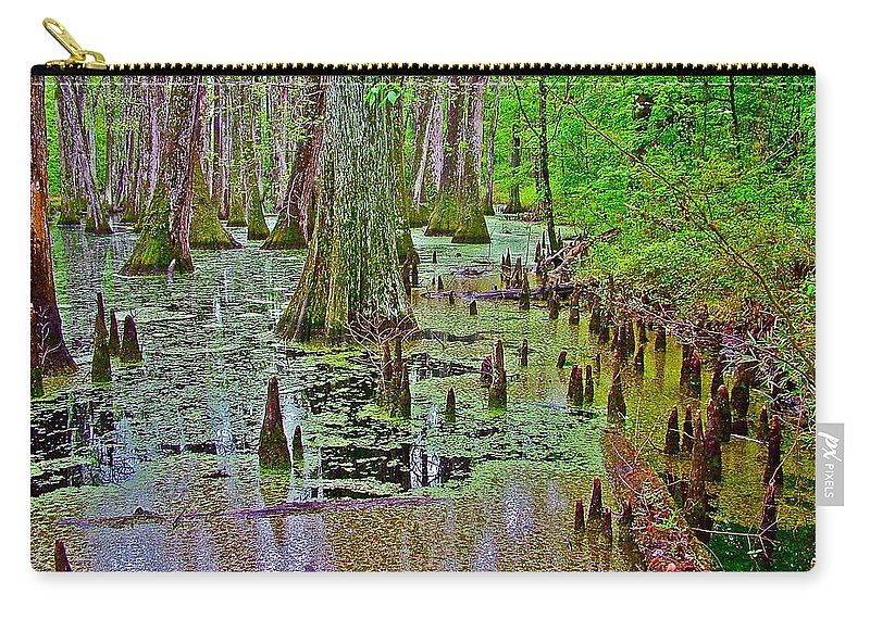 Trees And Knees In Tupelo/cypress Swamp At Mile 122 Of Natchez Trace Parkway Carry-all Pouch featuring the photograph Trees And Knees In Tupelo/cypress Swamp At Mile 122 Of Natchez Trace Parkway-mississippi by Ruth Hager