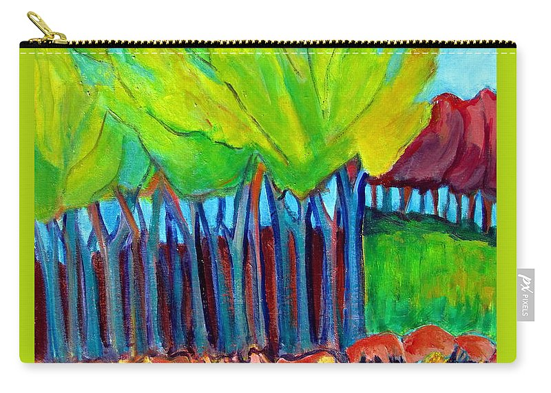 Highly Abstracted Trees And Meadow Carry-all Pouch featuring the painting Trees And Meadow by Betty Pieper