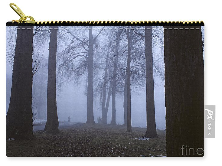 Travel Carry-all Pouch featuring the photograph Trees Greenlake With Man Walking by Jim Corwin