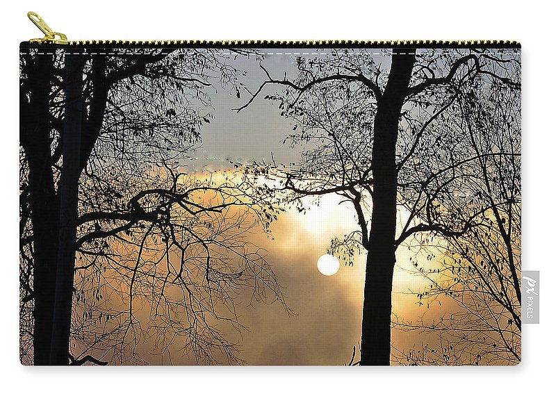 Trees Carry-all Pouch featuring the photograph Trees On Misty Morning by Phyllis Meinke