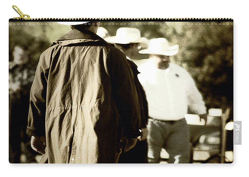 Country Carry-all Pouch featuring the photograph Trenchcoat Cowboy by Trish Mistric