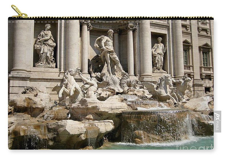 Trevi Fountain In Rome Italy Carry-all Pouch featuring the painting Trevi Fountain In Rome Italy by John Malone