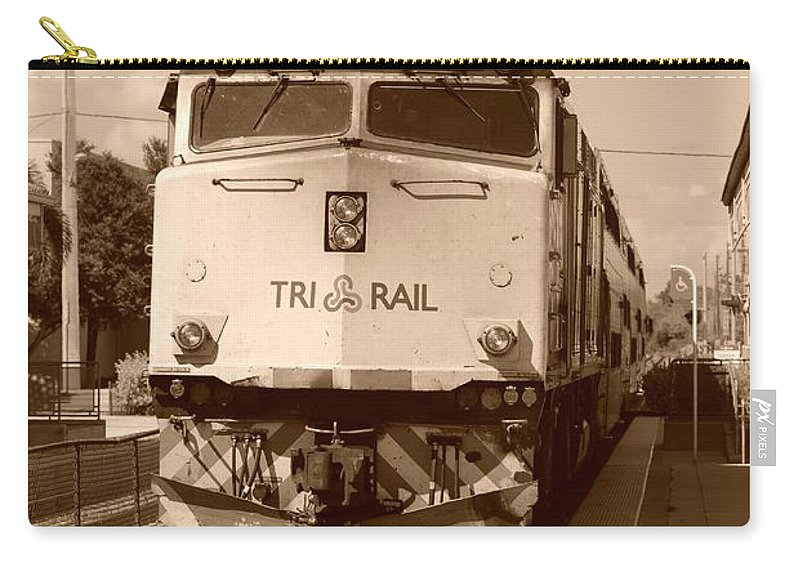Train Carry-all Pouch featuring the photograph Tri Rail 808 by Rob Hans