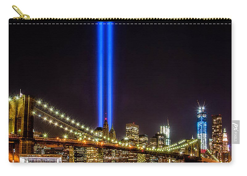 911 Carry-all Pouch featuring the photograph Tribute Lights From Brooklyn by Jerry Fornarotto