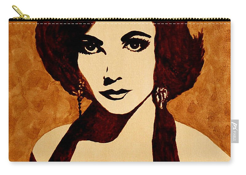 Elizabeth Taylor Pop Art Carry-all Pouch featuring the painting Tribute To Elizabeth Taylor Coffee Painting by Georgeta Blanaru