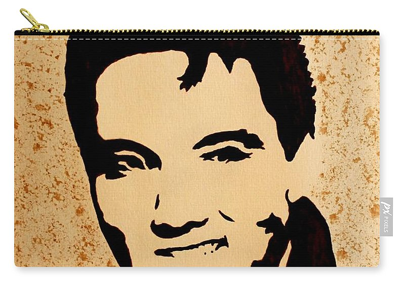 Elvis Presley Fine Coffee Art Carry-all Pouch featuring the painting Tribute To Elvis Presley by Georgeta Blanaru
