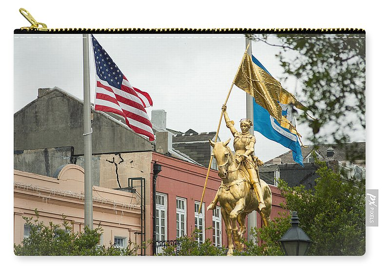 New Orleans Carry-all Pouch featuring the photograph New Orleans Tribute To Joan Of Arc by JG Thompson