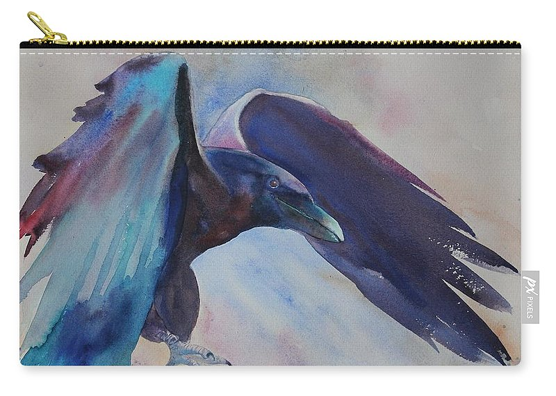 Raven Carry-all Pouch featuring the painting Trickster by Ruth Kamenev