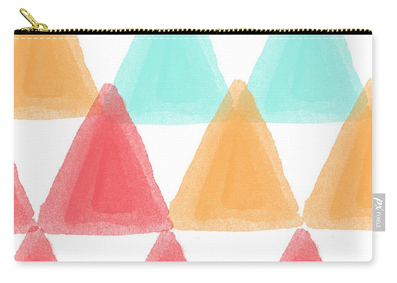 Triangles Carry-all Pouch featuring the painting Trifold- Colorful Abstract Pattern Painting by Linda Woods