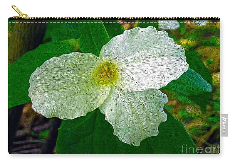 Ontario Carry-all Pouch featuring the photograph Trillium In The Forest by Nina Silver