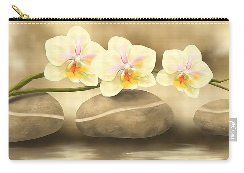 Orchid Carry-all Pouch featuring the painting Trilogy by Veronica Minozzi