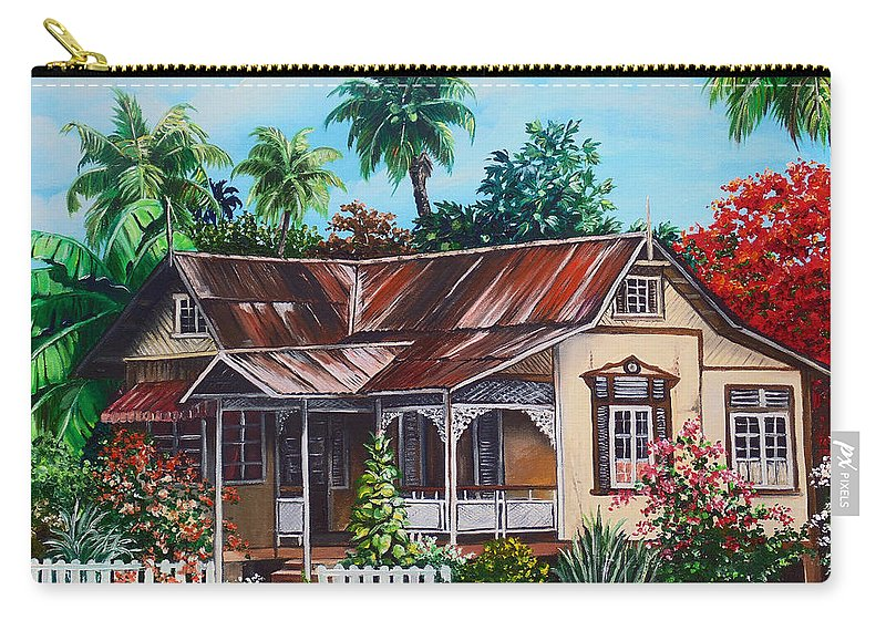 House Carry-all Pouch featuring the painting Trinidad House No 1 by Karin Dawn Kelshall- Best
