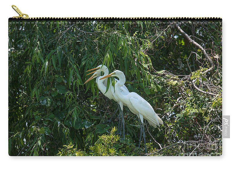 Egret Carry-all Pouch featuring the photograph Trio Of Egret Love by Dale Powell