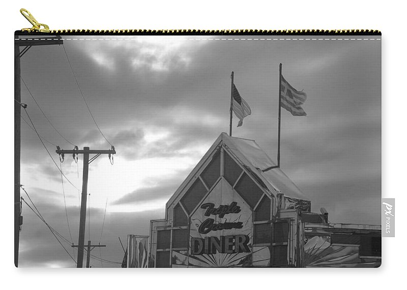 Scenic Carry-all Pouch featuring the photograph Triple Crown Diner In Black And White by Rob Hans