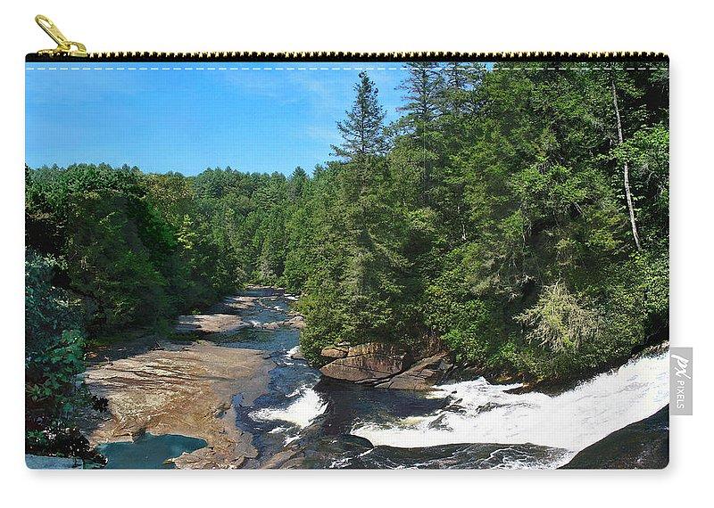 Triple Falls North Carolina Carry-all Pouch featuring the photograph Triple Falls North Carolina by Steve Karol