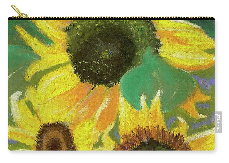 Sunflowers Carry-all Pouch featuring the painting Triple Gold by Arlene Crafton